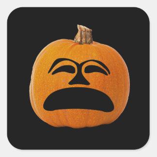 Jack o' Lantern Unhappy Face, Halloween Pumpkin Square Sticker