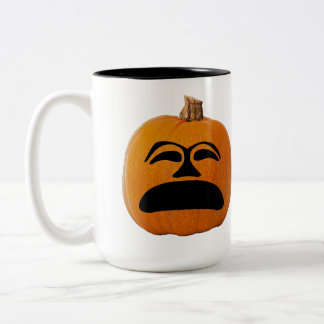 Jack o' Lantern Unhappy Face, Halloween Pumpkin Two-Tone Coffee Mug