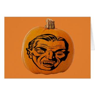 Jack o' Lantern Vampire Face, Halloween Pumpkin Card