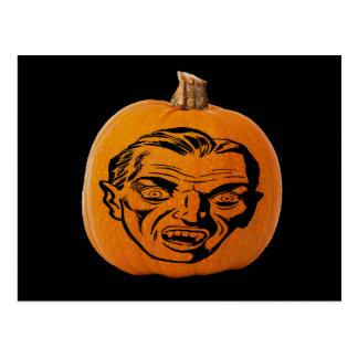 Jack o' Lantern Vampire Face, Halloween Pumpkin Postcard
