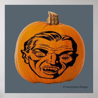 Jack o' Lantern Vampire Face, Halloween Pumpkin Poster
