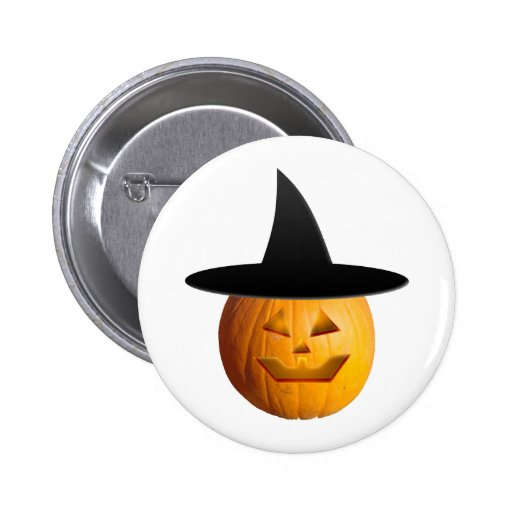 Jack O' Lantern Witch Pinback Button
