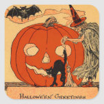 Jack O Lantern Witch Black Cat Bat Vintage Square Sticker