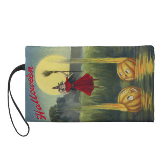 Jack O' Lantern Witch Full Moon Broom Wristlet Purse
