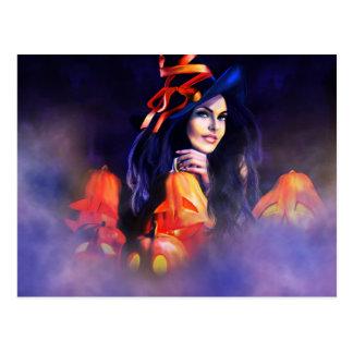 Jack-O-Lantern Witch Postcard