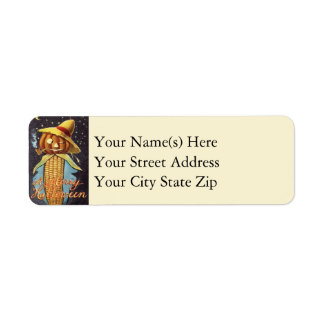 Jack O Lantern With Corn Body Halloween Return Address Label