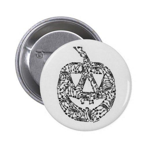 Jack-O-Lantern with Skeletons Pinback Buttons
