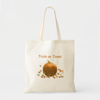 Jack-O-Lantern with Swirling Leaves Budget Tote Bag