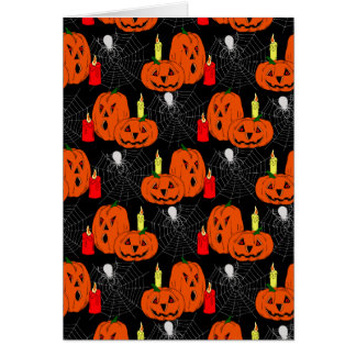 Jack o' Lanterns and Spiderwebs Pattern Greeting Cards