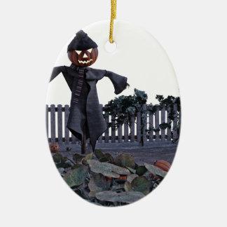 Jack O Scarecrow in a Pumpkin Patch Ceramic Ornament