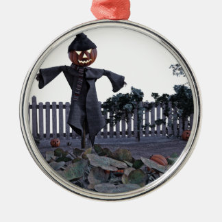 Jack O Scarecrow in a Pumpkin Patch Metal Ornament