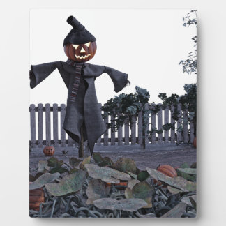 Jack O Scarecrow in a Pumpkin Patch Plaque