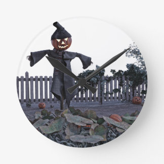 Jack O Scarecrow in a Pumpkin Patch Round Clock