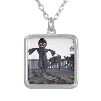 Jack O Scarecrow in a Pumpkin Patch Silver Plated Necklace