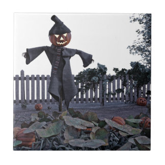 Jack O Scarecrow in a Pumpkin Patch Tile