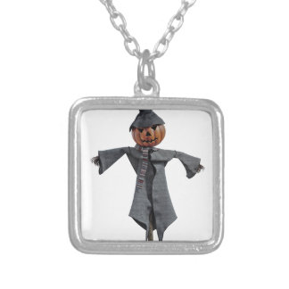 Jack O Scarecrow Silver Plated Necklace