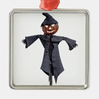 Jack O Scarecrow with Bright Eyes Metal Ornament