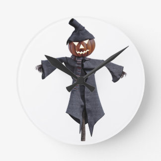 Jack O Scarecrow with Bright Eyes Round Clock