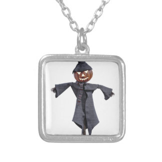 Jack O Scarecrow with Bright Eyes Silver Plated Necklace