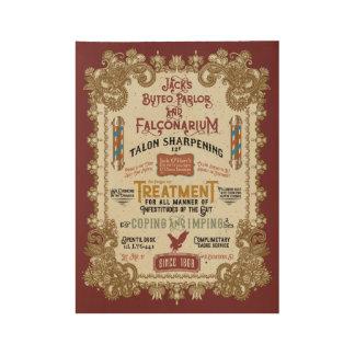 Jack O'Hares Buteo Parlor and Falconarium Wood Poster