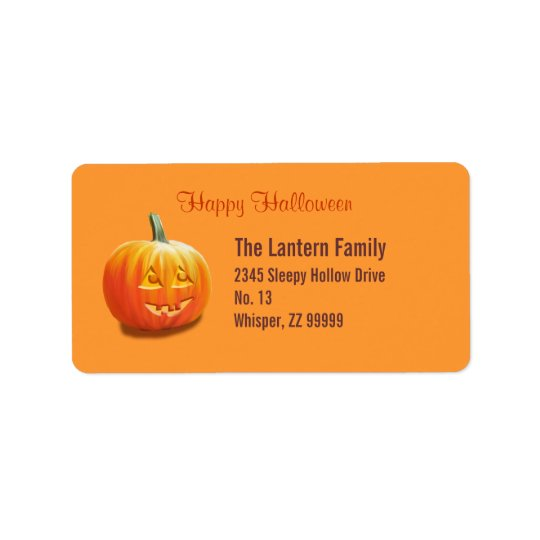 Jack O'Lantern Halloween Address Label