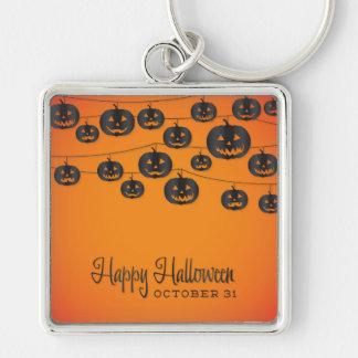 Jack O'lantern string Silver-Colored Square Key Ring