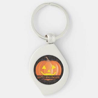 Jack O'Lanterns! Silver-Colored Swirl Key Ring