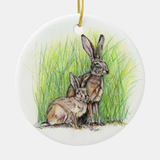 Jack Rabbit Royalty Round Ceramic Decoration