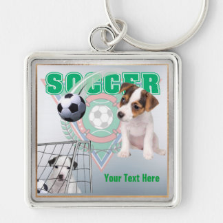 Jack Russel Puppies Soccer Design Square Key Chain Keychain