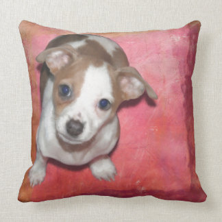 Jack Russel Terrier Puppy on Pink Throw Pillow