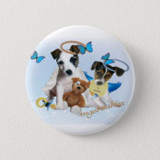 Jack Russell  Angel Babies 6 Cm Round Badge