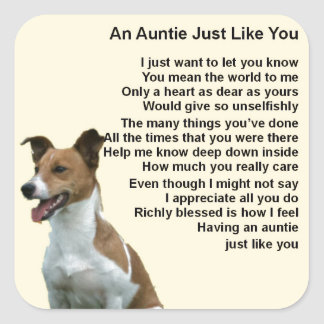 Jack Russell - Auntie Poem Square Sticker