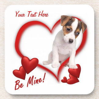 Jack Russell Be Mine Valentine's Day Cork Coaster