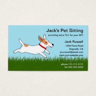 Jack Russell Cartoon Dog Runs on Grass - Pet Care Business Card