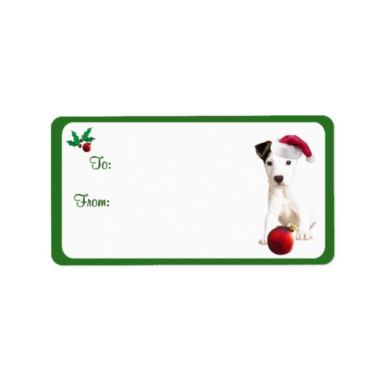 Jack Russell Christmas Gift Tag Stickers Address Label