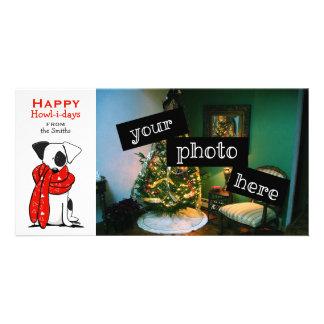 Jack Russell Cute Dog Scarf Christmas Cartoon Photo Card Template