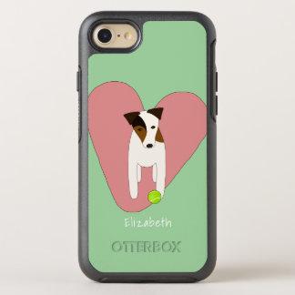 Jack Russell dog heart tennis ball pink mint OtterBox Symmetry iPhone 8/7 Case