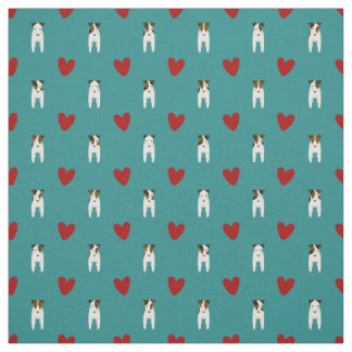 Jack Russell dogs and red hearts light teal Fabric