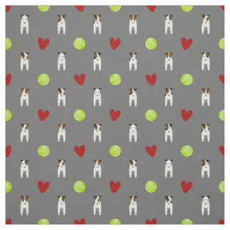 Jack Russell dogs w tennis balls and red hearts Fabric