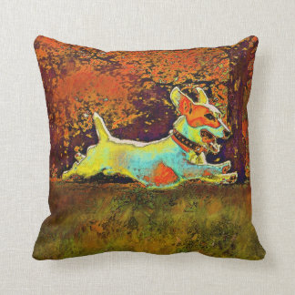 jack russell in autumn leaves pillow