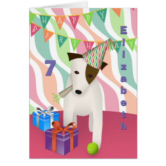Jack Russell in party hat pink girl's birthday Card