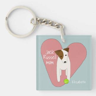 Jack Russell mum pink heart love tennis ball Key Ring