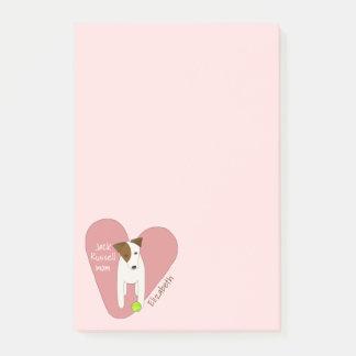 Jack Russell mum pink heart love tennis ball Post-it Notes