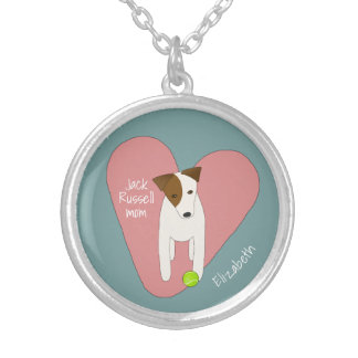 Jack Russell mum pink heart love tennis ball Silver Plated Necklace