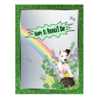 Jack Russell Orig Pup Happy St Patty Small Version Postcard