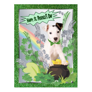 Jack Russell Original Puppy Happy St Pattys Day Postcard