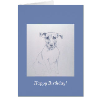 Jack Russell pencil drawing Card