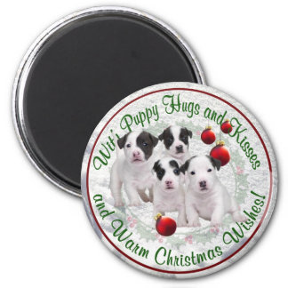 Jack Russell Puppy Hugs Kisses Warm Christmas Wish 6 Cm Round Magnet