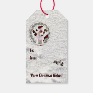 Jack Russell Puppy Warm Christmas Wishes Gift Tags