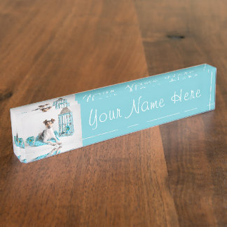 Jack Russell Rat Terrier Turquoise Dog Nameplate